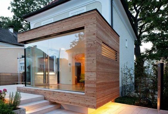 Extension de maison en bois grande baie vitrée - Nantes 44