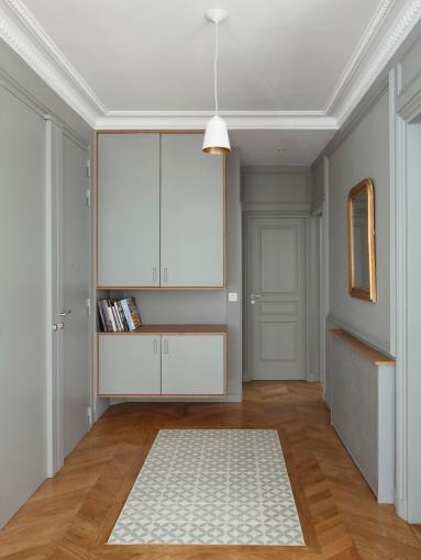Carreaux de ciment et parquet, création tableau de sol couloir - Nantes 44