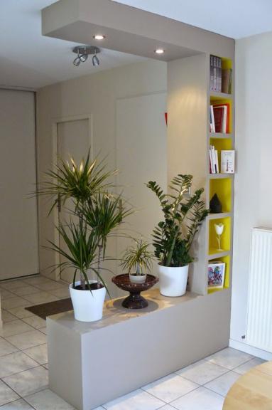 Demi-cloison dans le salon avec plantes en pot - Nantes 44