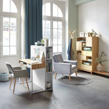 Demi-cloison dans le salon espace bureau - Nantes 44