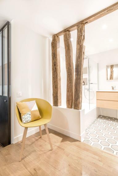 Carreaux de ciment et parquet, illusion tapis salle de bain - Nantes 44