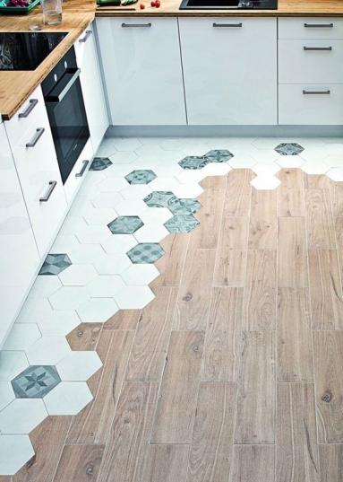 Conseils mixage carreaux de ciment et parquet, sol de cuisine - Nantes 44