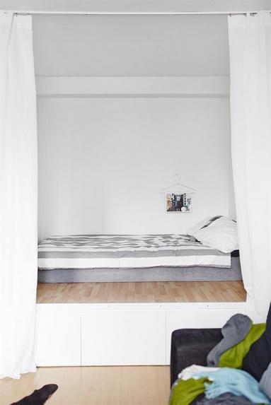 Optimisation de studio, lit sur estrade - Nantes 44